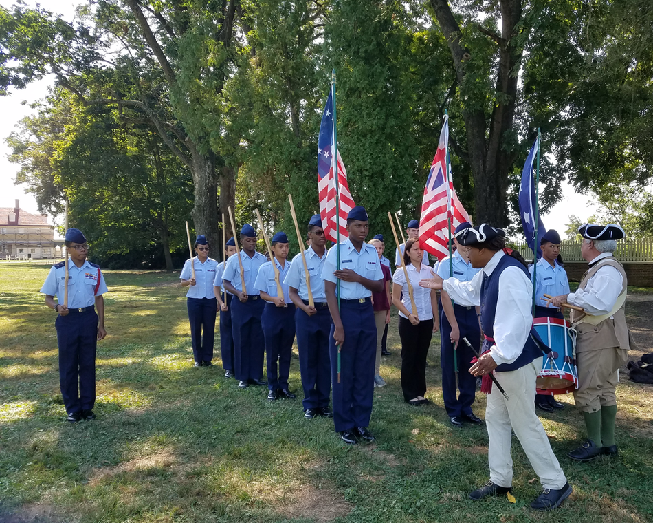 Cadets practice period-marching at Mount Vernon.