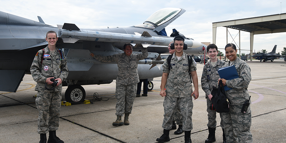 Cadets shadow the Air National Guard's F-16 fighter squadron for a weekend.