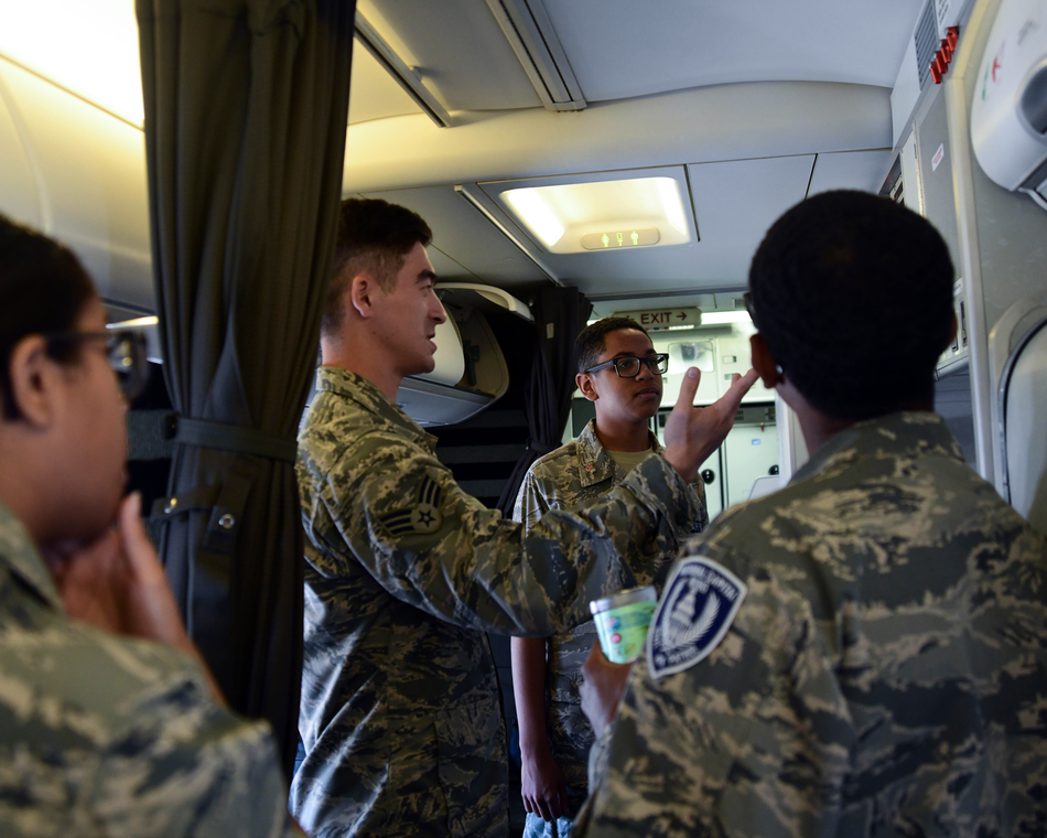 A former cadet not in the Air National Guard gives a tour of a VIP aircraft.