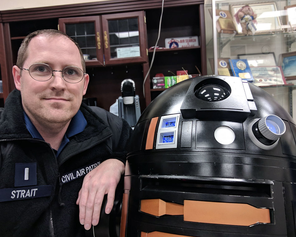 Teaching robotics with a homemade R2-Q5 droid.