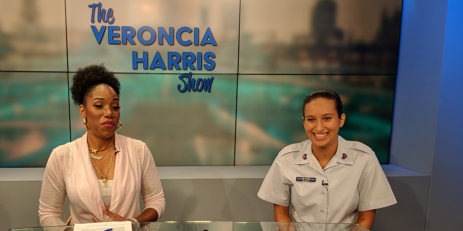 A cadet is interviewed on a local talk show.