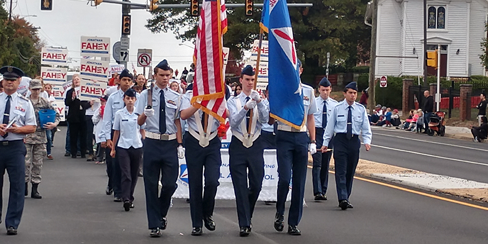 Cadets march in a City of Fairfax parade.