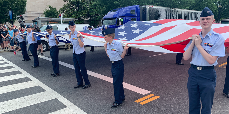Cadets participate in the National Memorial Day Parade.